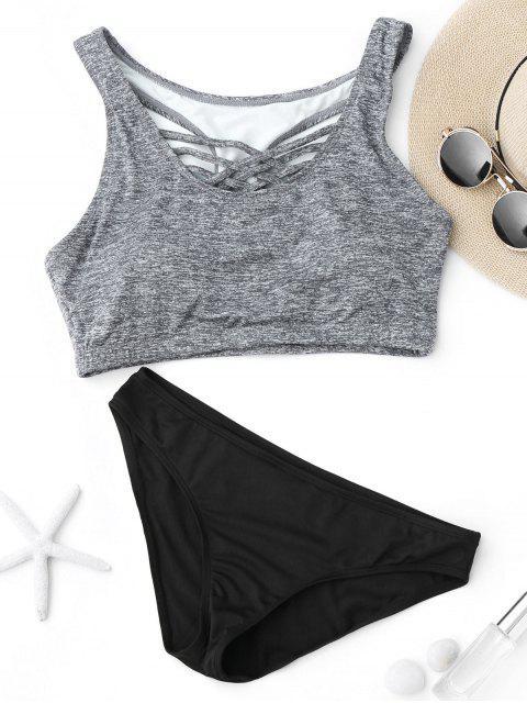 hot Criss Cross Racerback Crop Top Bikini Suit - BLACK AND GREY S Mobile