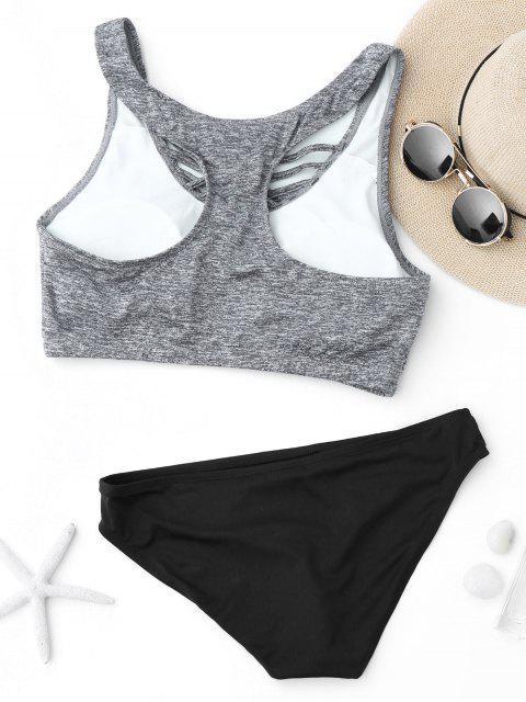 outfit Criss Cross Racerback Crop Top Bikini Suit - BLACK AND GREY M Mobile