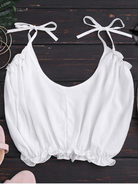 unique Cropped Ruffled Hem Tied Cami Top - WHITE M Mobile