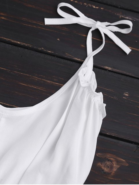 affordable Cropped Ruffled Hem Tied Cami Top - WHITE L Mobile
