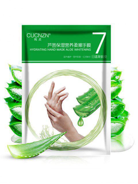 1 par de leche nutritiva y máscara de mano de esencia de aloe - Verde  Mobile