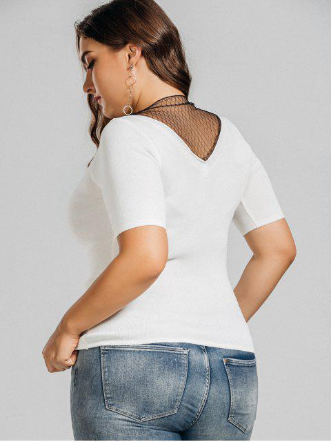 online Knitting Plus Size Voile Panel Top - WHITE 4XL Mobile