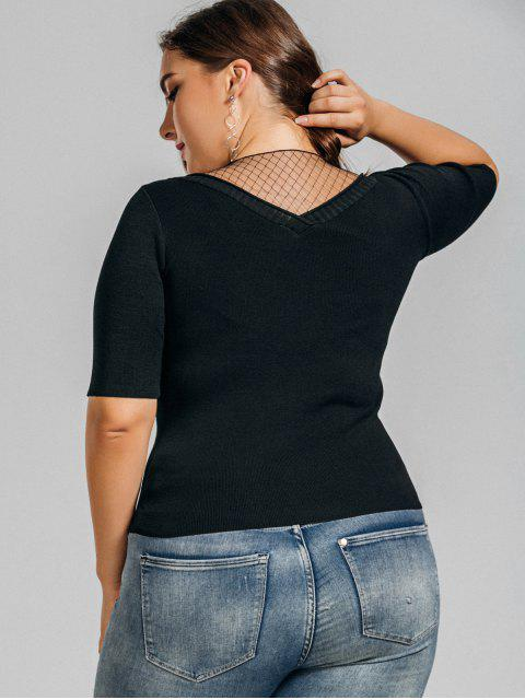 outfits Knitting Plus Size Voile Panel Top - BLACK 3XL Mobile