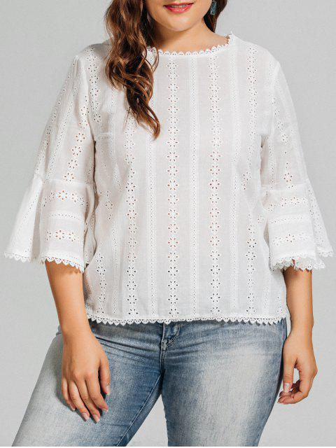 latest Plus Size Crochet Panel Sheer Blouse - WHITE 2XL Mobile