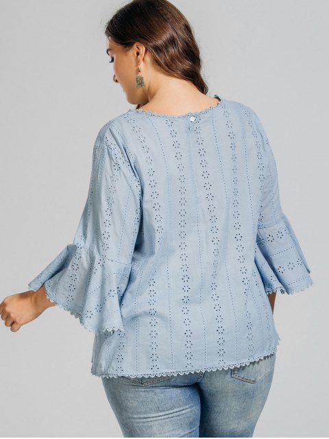 fancy Plus Size Crochet Panel Sheer Blouse - LIGHT BLUE XL Mobile