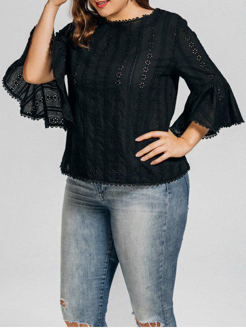 unique Plus Size Crochet Panel Sheer Blouse - BLACK 3XL Mobile