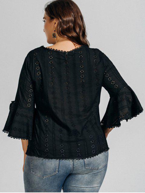 affordable Plus Size Crochet Panel Sheer Blouse - BLACK XL Mobile