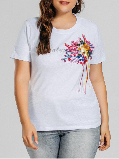 buy Plus Size Letter Embroidered Patched T-Shirt - WHITE XL Mobile