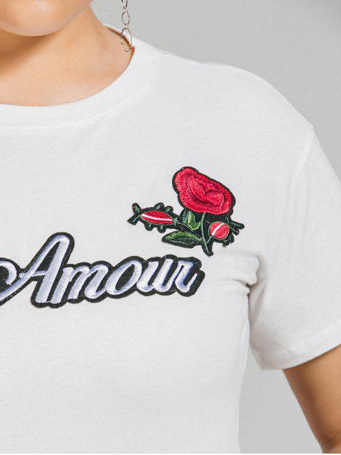 ladies Plus Size Letter Rose Embroidered T-Shirt - WHITE 3XL Mobile