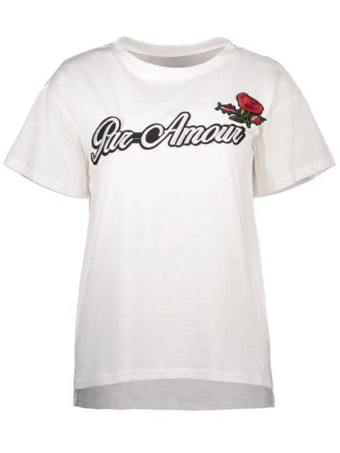 lady Plus Size Letter Rose Embroidered T-Shirt - WHITE 4XL Mobile