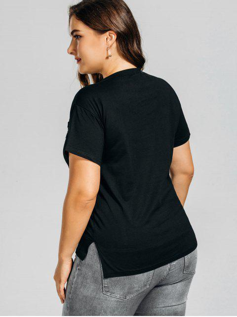 online Plus Size Letter Rose Embroidered T-Shirt - BLACK 5XL Mobile