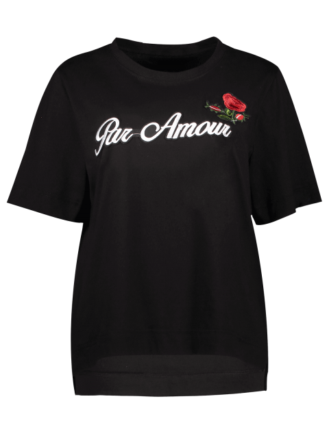 outfit Plus Size Letter Rose Embroidered T-Shirt - BLACK 2XL Mobile