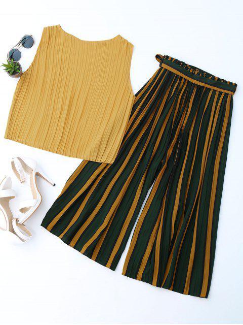 Top plissé avec blocs colorés à rayures Gaucho - Jaune TAILLE MOYENNE Mobile