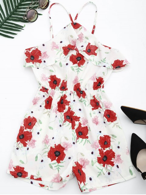 trendy Beach Floral Ruffles Romper - FLORAL S Mobile