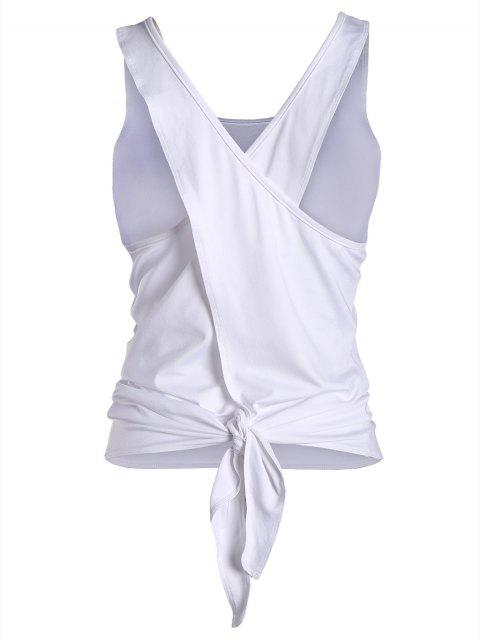 best Cross Back Scoop Tied Sporty Top - WHITE L Mobile