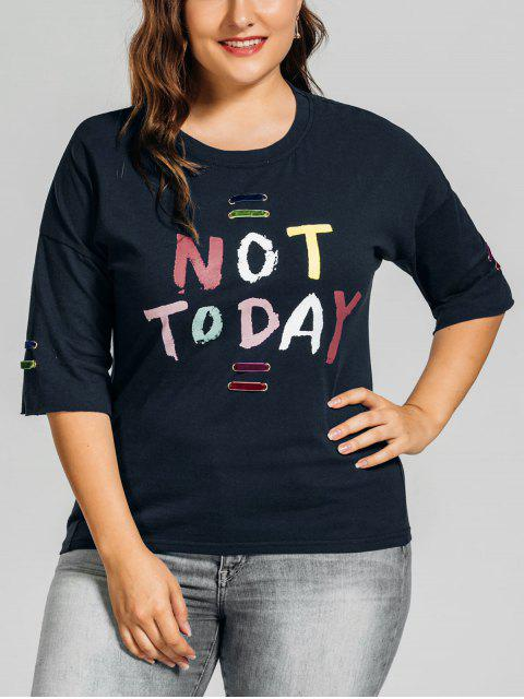 outfits Metal Rings Plus Size Letter T-Shirt - PURPLISH BLUE 3XL Mobile