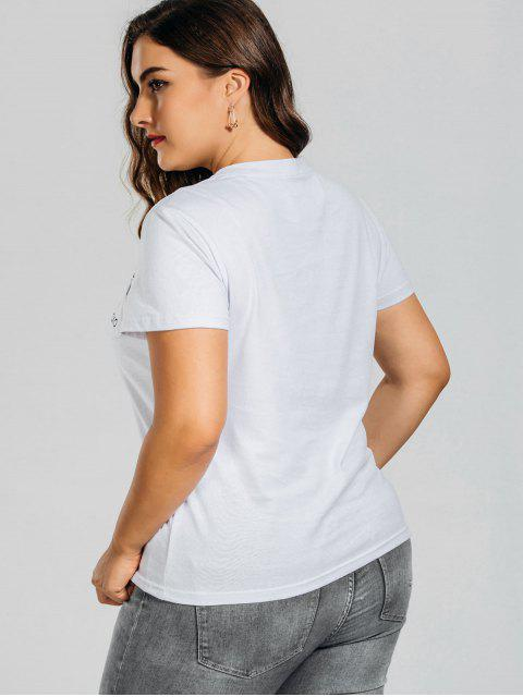 fashion Plus Size Rose Embroidered T-Shirt with Pocket - WHITE 3XL Mobile