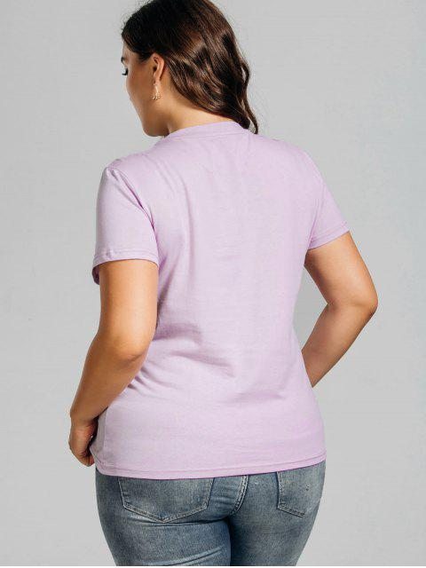 fancy Plus Size Rose Embroidered T-Shirt with Pocket - LIGHT PURPLE 4XL Mobile