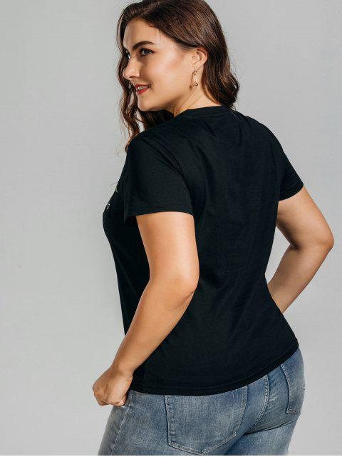women Plus Size Rose Embroidered T-Shirt with Pocket - BLACK 2XL Mobile