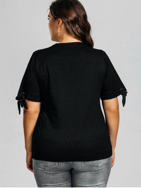 lady Plus Size Embroidered High Low Top - BLACK 2XL Mobile