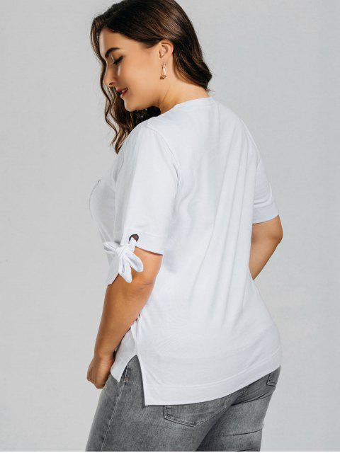 online Plus Size Embroidered High Low Top - WHITE 3XL Mobile