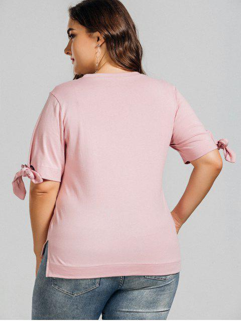 shop Plus Size Embroidered High Low Top - PINK XL Mobile