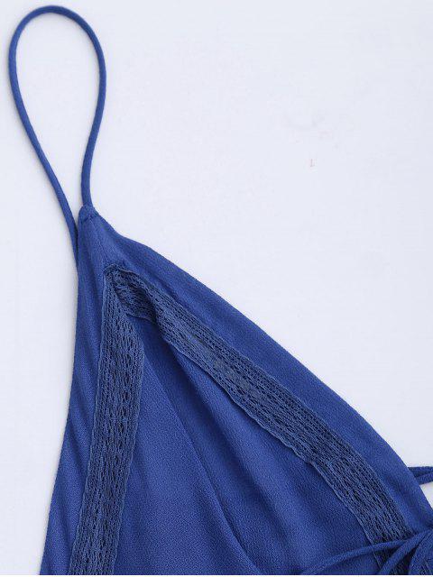 best Plunge Low Back Lace Up Sundress - BLUE L Mobile