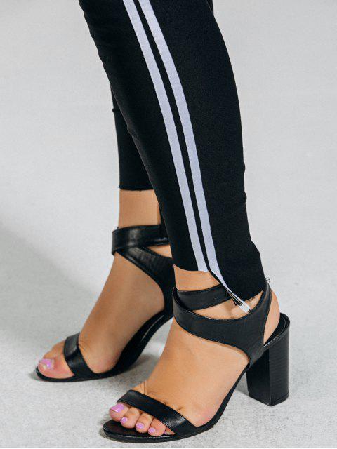 trendy Plus Size Stripes High Low Hem Pants - BLACK 2XL Mobile