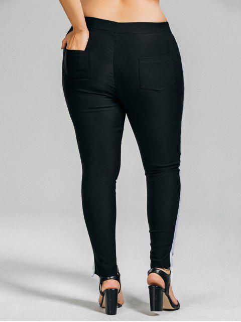 chic Plus Size Stripes High Low Hem Pants - BLACK 4XL Mobile