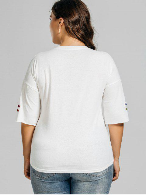 women's Metal Rings Plus Size Letter T-Shirt - WHITE 2XL Mobile