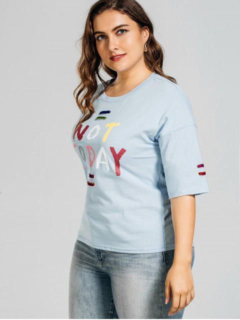 hot Metal Rings Plus Size Letter T-Shirt - LIGHT BLUE XL Mobile
