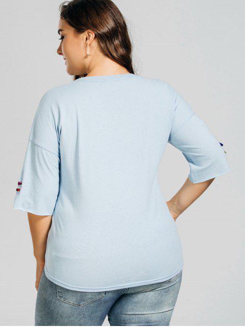 T-shirt en t-shirt en t-shirt taille métal - Bleu clair XL Mobile