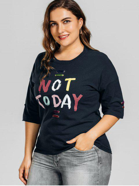 shop Metal Rings Plus Size Letter T-Shirt - PURPLISH BLUE 2XL Mobile
