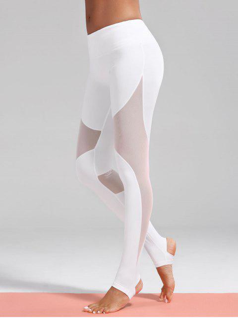 women Mesh Insert Stirrup Sporty Leggings - WHITE L Mobile