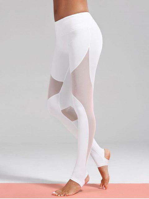women's Mesh Insert Stirrup Sporty Leggings - WHITE M Mobile