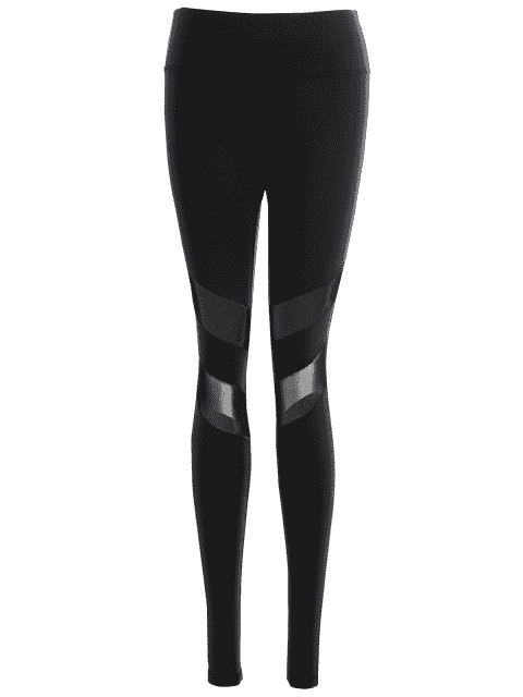 chic Active Mesh Panel Stretchy Leggings - BLACK L Mobile