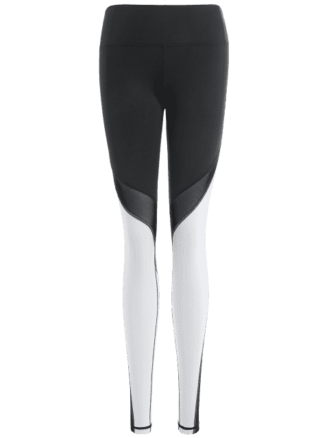 unique Active Color Block Stretchy Leggings - WHITE AND BLACK L Mobile