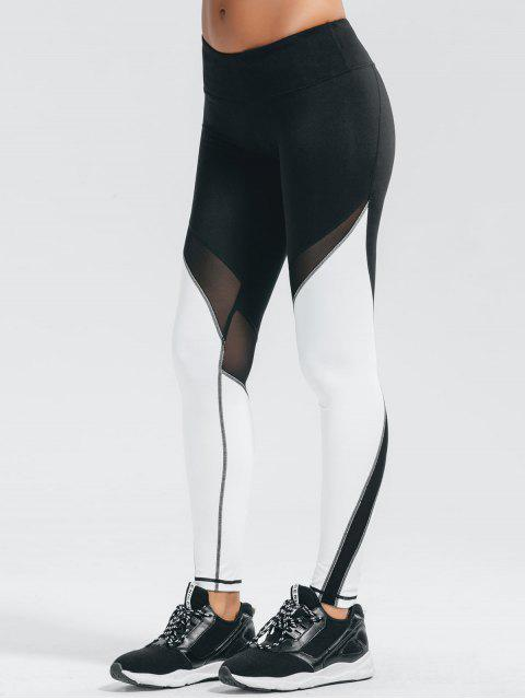 sale Active Color Block Stretchy Leggings - WHITE AND BLACK M Mobile