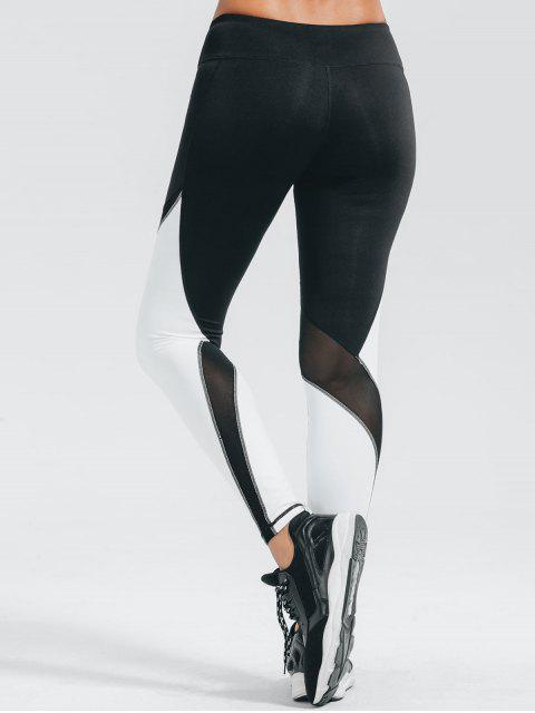 affordable Active Color Block Stretchy Leggings - WHITE AND BLACK S Mobile