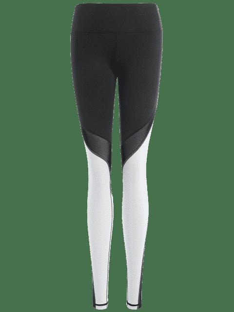 Leggings de sport à couleur color block - Blanc et Noir S Mobile