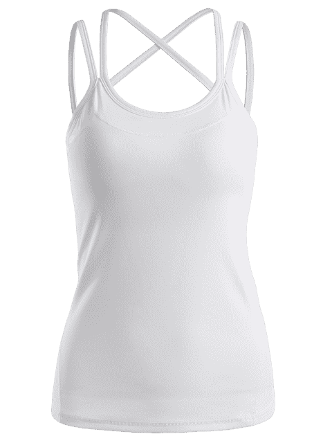 new Cami Padded Cross Back Sporty Top - WHITE S Mobile