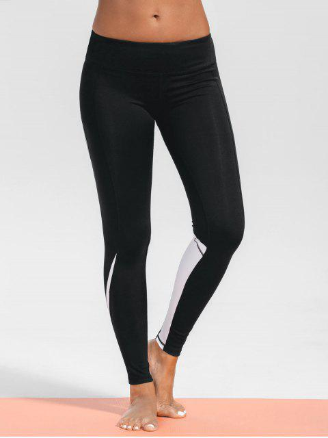 ladies Stretchy Two Tone Sporty Leggings - BLACK L Mobile