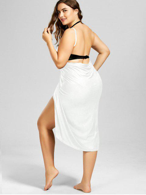 best Plus Size Beach Cover-up Wrap Dress - WHITE XL Mobile