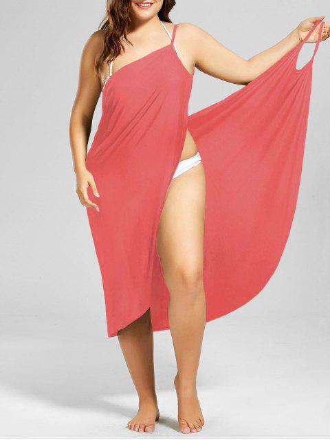 chic Plus Size Beach Cover-up Wrap Dress - WATERMELON RED 4XL Mobile