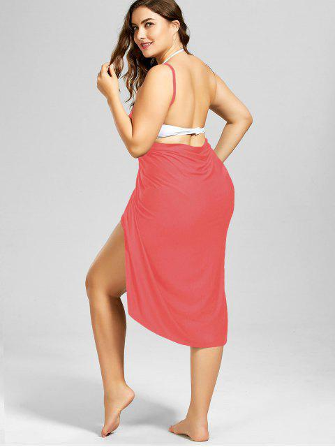 hot Plus Size Beach Cover-up Wrap Dress - WATERMELON RED XL Mobile