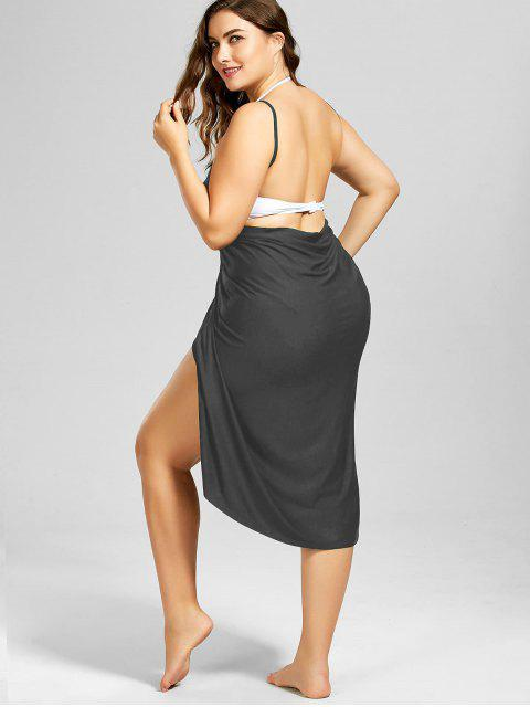 buy Plus Size Beach Cover-up Wrap Dress - MOUSE GREY 3XL Mobile