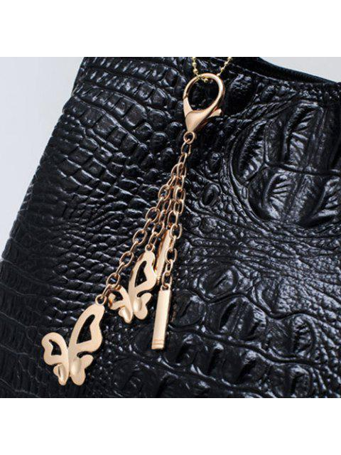 hot Crocodile Embossed Handbag and Wallet - BLUE  Mobile