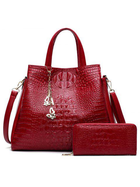 outfit Crocodile Embossed Handbag and Wallet - RED  Mobile