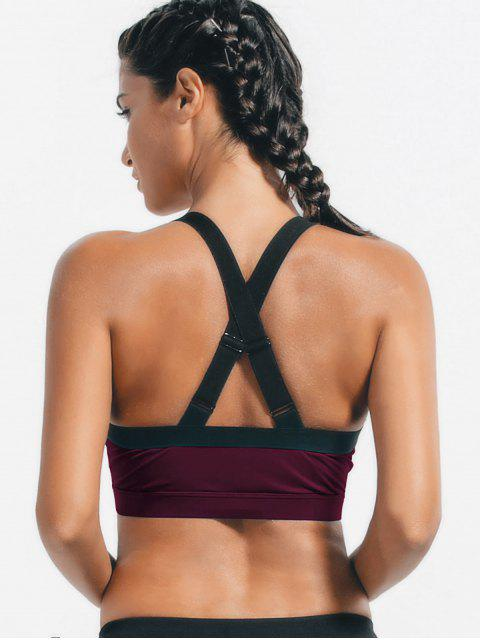 womens Bandage Cross Back Cut Out Sporty Top - PURPLISH RED L Mobile