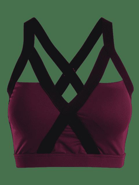 women Bandage Cross Back Cut Out Sporty Top - PURPLISH RED M Mobile